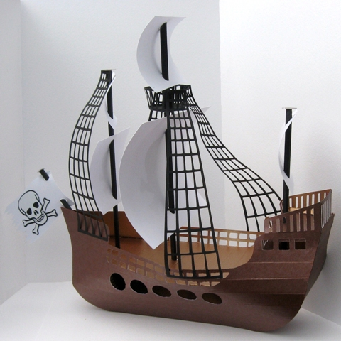 Pirate ship template for Cardboard pirate ship template
