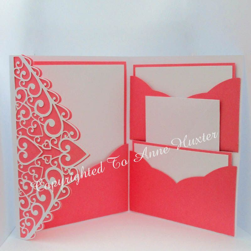 swirl heart pocket fold invitation template